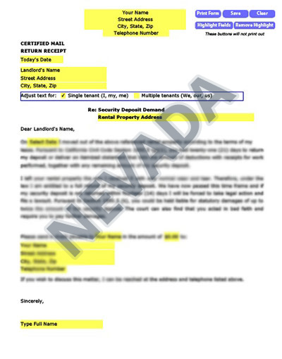 Nevada Security Demand letter