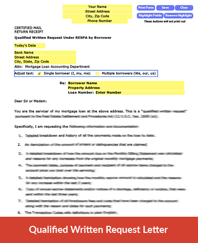 qualified written request letter